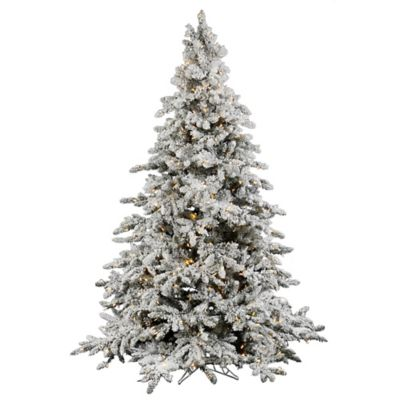 Vickerman 7.5-Foot Flocked Utica Fir Pre-Lit Christmas Tree with Warm White LED Lights