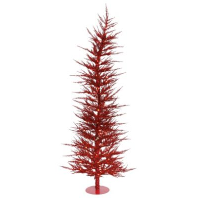 Vickerman 6-Foot Red Laser Pre-Lit Christmas Tree with Clear Mini Lights