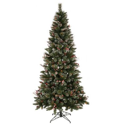 Vickerman 4.5-Foot Snow-Tipped Berry Pre-Lit Christmas Tree with Multicolored Mini Lights