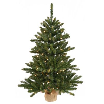 Vickerman 3-Foot Anoka Pine Pre-Lit Tree with Burlap Base and Clear Lights