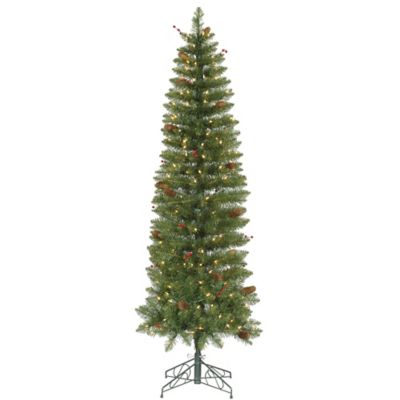 Vickerman 7.5-Foot Salinas Pre-Lit Pencil Christmas Tree with Clear Mini Lights