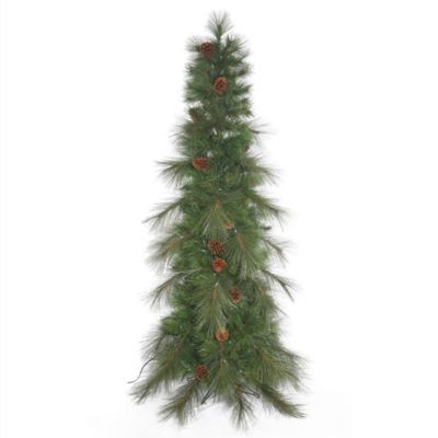 Vickerman 6-Foot Cascade Pine Slim Christmas Tree with Pinecones
