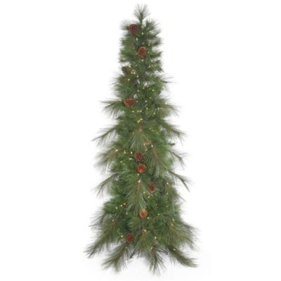 Vickerman 6-Foot Cascade Pine Slim Pre-Lit Christmas Tree with Pinecones and Warm White LED Lights