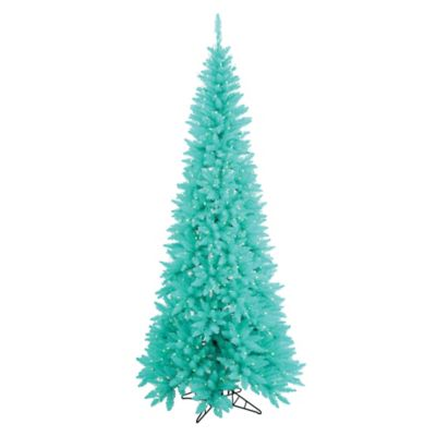 Vickerman 4.5-Foot Fir Slim Pre-Lit Christmas Tree in Aqua with Aqua Lights