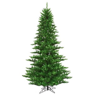 Vickerman 4.5-Foot Tinsel Green Fir Pre-Lit Christmas Tree in Green with Green Mini Lights