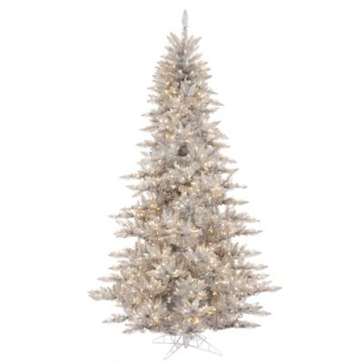 Vickerman 7.5-Foot Fir Pre-Lit Christmas Tree in Silver with Clear Mini Lights