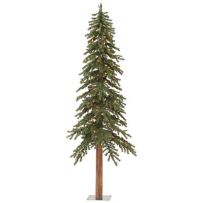 Vickerman 6-Foot Natural Alpine Slim Pre-Lit Christmas Tree with Dura-Lit Multicolored Lights