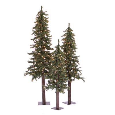 Vickerman 3-Piece Natural Alpine Pre-Lit Christmas Tree Set with Multicolor Lights