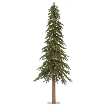 Vickerman 8-Foot Natural Alpine Pre-Lit Slim Christmas Tree with Clear Mini Lights