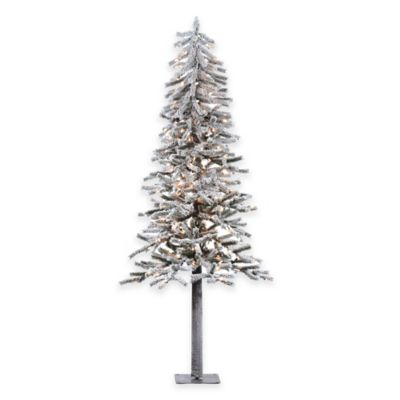 Vickerman 7-Foot Flocked Alpine Pre-Lit Dura-Lit Christmas Tree with Clear Lights