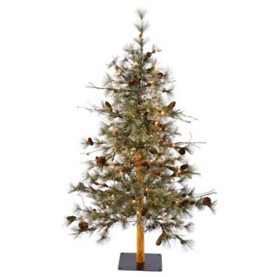 Vickerman 6-Foot Dakota Alpine Pre-Lit Christmas Tree with Pinecones, Twigs, and Clear Mini Lights