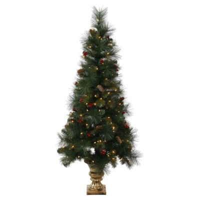 Vickerman 4-Foot Mixed Pine Berry Cone Potted Christmas Tree with Clear Lights