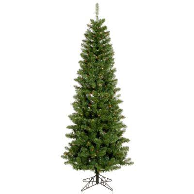 Vickerman 6.5-Foot Salem Pencil Pine Pre-Lit Christmas Tree with Multicolor LED Lights