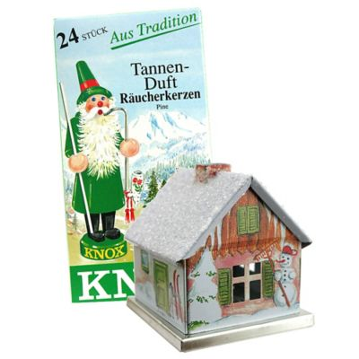 5-Inch Metal Winter-Theme Incense House