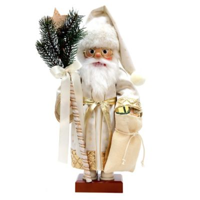 Christian Ulbricht 19-Inch White and Gold Santa with Gifts Limited-Edition Nutcracker Figurine