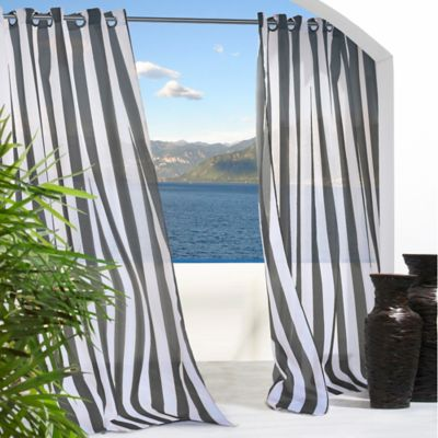 Commonwealth Home Fashions 85-Inch Escape Stripe Window Curtain Panel in Black/White