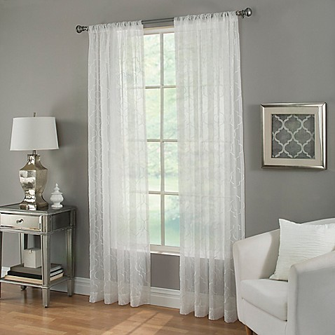 Buy kendall sheer 84 inch rod pocket window curtain panel in white