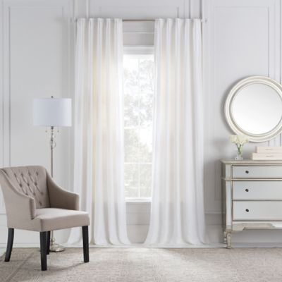 Cambria® Malta Euro Pleat 84-Inch Back Tab Window Curtain Panel in White
