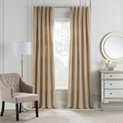 Cambria® Malta Euro Pleat 84-Inch Back Tab Window Curtain Panel in Linen