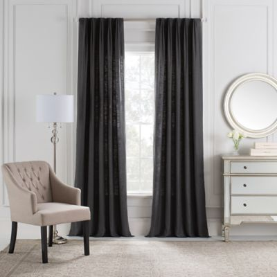 Cambria® Malta Euro Pleat 84-Inch Back Tab Window Curtain Panel in Charcoal