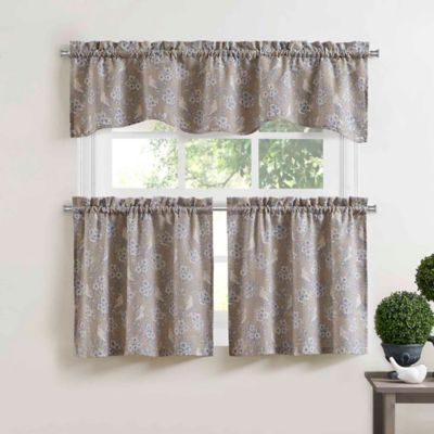 Blue Bird 36-Inch Rod Pocket Window Curtain Tier Pair in Blue