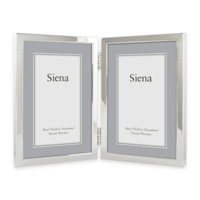 Siena Silver-Plated Narrow Border Plain 5-Inch x 7-Inch 2-Photo Picture Frame