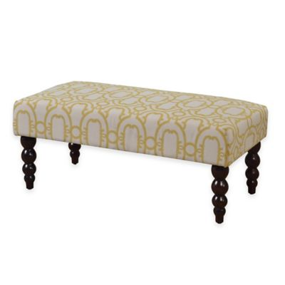 Claire Geo Pattern Upholstery Bench in Gold