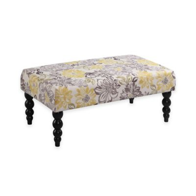 Claire Floral Pattern Upholstery Bench in Grey/Yellow