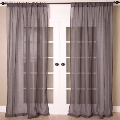 Aura 84-Inch Solid Sheer Window Curtain Panel in White