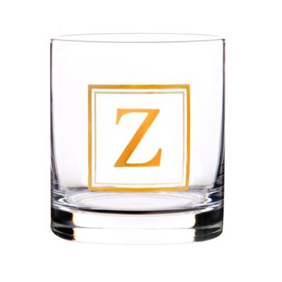 """Home Essentials & Beyond Monogram Block Letter """"Z"""" Double Old Fashioned Glass"""