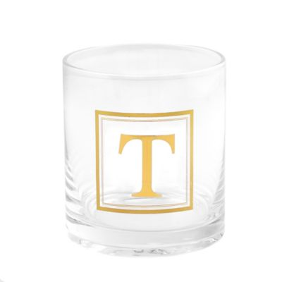 """Home Essentials & Beyond Monogram Block Letter """"T"""" Double Old Fashioned Glass"""