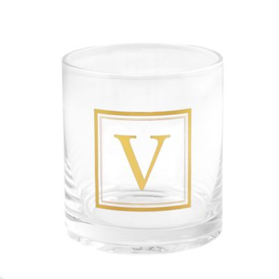 """Home Essentials & Beyond Monogram Block Letter """"V"""" Double Old Fashioned Glass"""