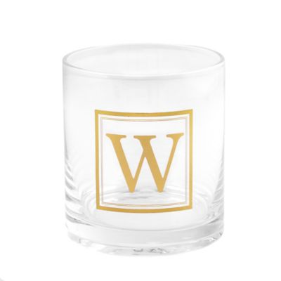 """Home Essentials & Beyond Monogram Block Letter """"W"""" Double Old Fashioned Glass"""