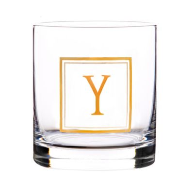 """Home Essentials & Beyond Monogram Block Letter """"Y"""" Double Old Fashioned Glass"""