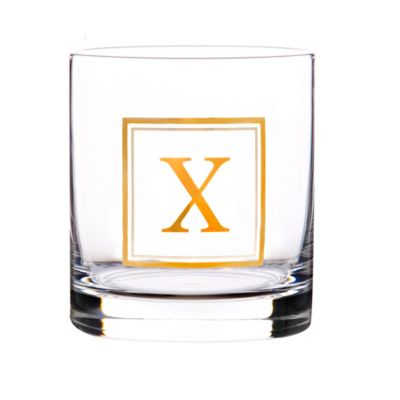 """Home Essentials & Beyond Monogram Block Letter """"X"""" Double Old Fashioned Glass"""
