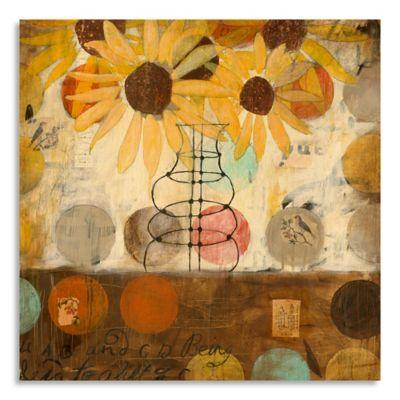 Flowers & Circles I 32-Inch x 32-Inch Wood Wall Art