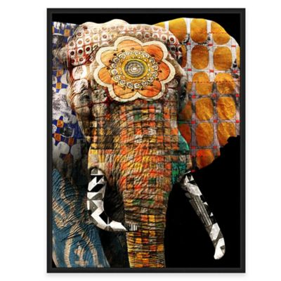 Framed Giclée Tribal Elephant 2 Canvas Wall Art