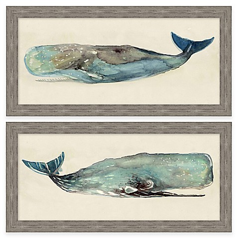 Framed Gicl E Watercolor Whale Wall Art Collection Bed