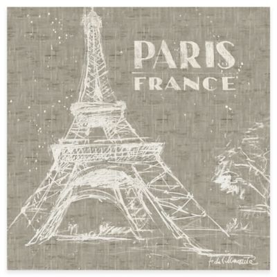 Etched and Hand Embellished Paris Canvas Wall Art