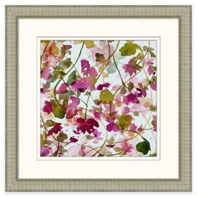 Framed Giclée Watercolor Lattice Flowers Wall Art