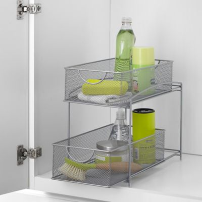 .ORG 2-Tier Mesh Steel Mesh Double Sliding Cabinet Basket in Silver