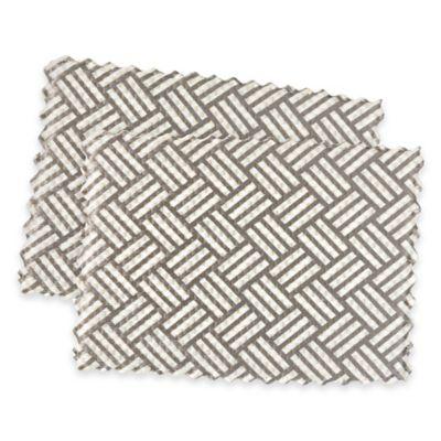 9-1/2 Inch x 6-1/2 Inch Basketweave Sink Mats in Grey (Set of 3)