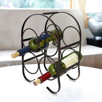 Mesa Cantle 4-Bottle Wine Rack in Antique Black