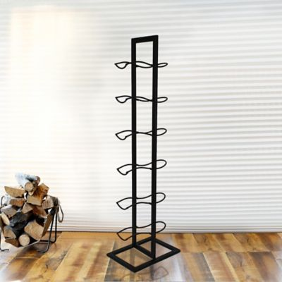 Mesa 6-Bottle Floor Standing Wine Rack in Antique Black