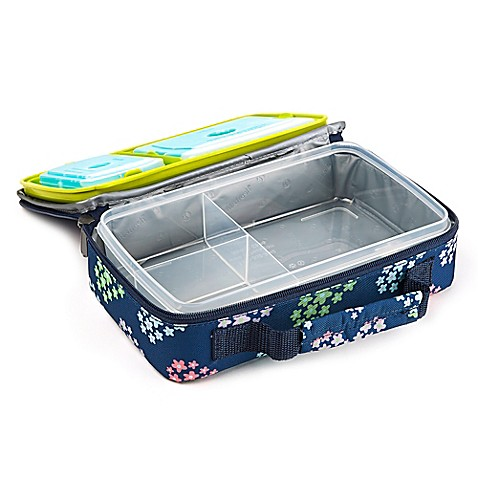 buy fit and fresh bento lunch box kit in flower print from bed bath beyond. Black Bedroom Furniture Sets. Home Design Ideas