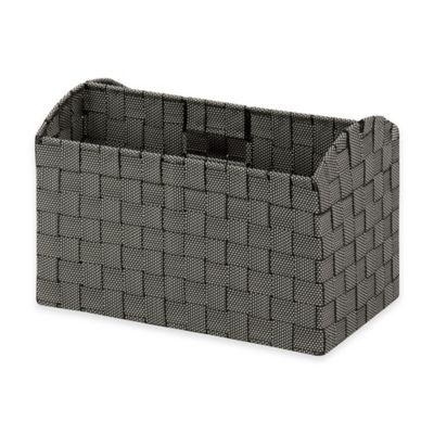 Honey-Can-Do Woven Doc Carry Tote Storage Box in Black and White
