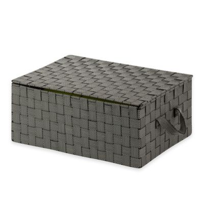 Honey-Can-Do Hinged Lid Woven Storage Box in Black and White