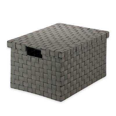 Household Essentials Honey-Can-Do Large Woven File Box in Black and White