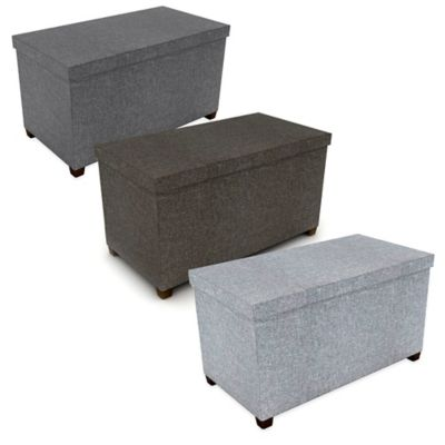 34-Inch Storage Ottoman with Wooden Feet in Dark Grey