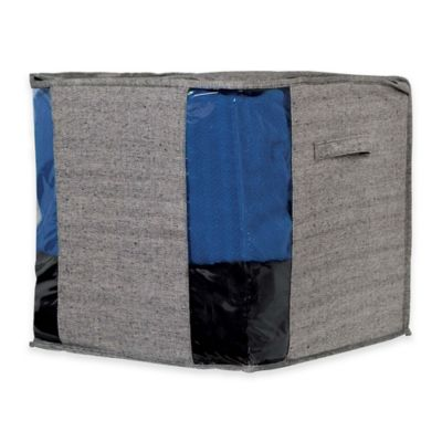 Arrow Weave Storage Cube Bag in Grey